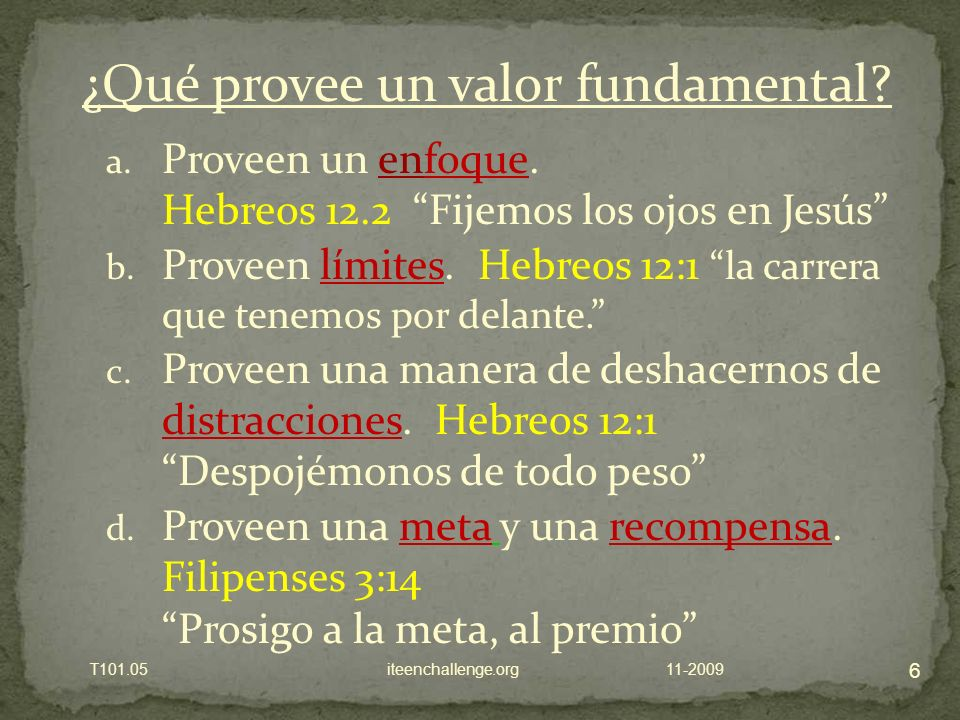 a.Proveen un enfoque. Hebreos 12.2 Fijemos los ojos en Jesús b.