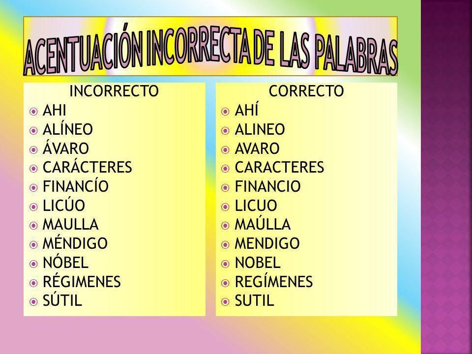 INCORRECTO AHI ALÍNEO ÁVARO CARÁCTERES FINANCÍO LICÚO MAULLA MÉNDIGO NÓBEL RÉGIMENES SÚTIL CORRECTO AHÍ ALINEO AVARO CARACTERES FINANCIO LICUO MAÚLLA MENDIGO NOBEL REGÍMENES SUTIL