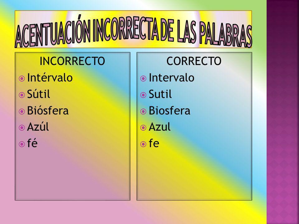 INCORRECTO Intérvalo Sútil Biósfera Azúl fé CORRECTO Intervalo Sutil Biosfera Azul fe