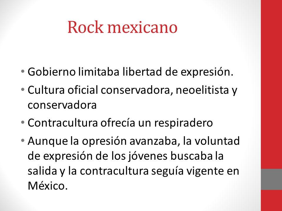 Rock Mexicano Las bandas resultaron el público idóneo para el rock mexicano a fines de los setenta. En los ochenta aparecieron centros nocturnos dedic