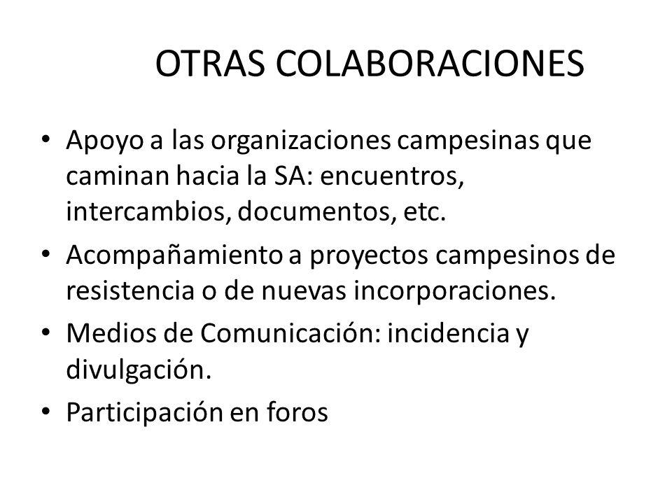 OTRAS COLABORACIONES Apoyo a las organizaciones campesinas que caminan hacia la SA: encuentros, intercambios, documentos, etc. Acompañamiento a proyec