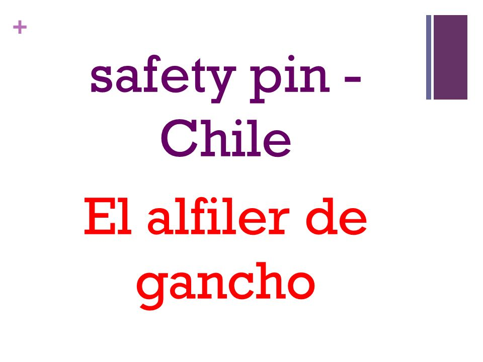 + safety pin - Chile El alfiler de gancho