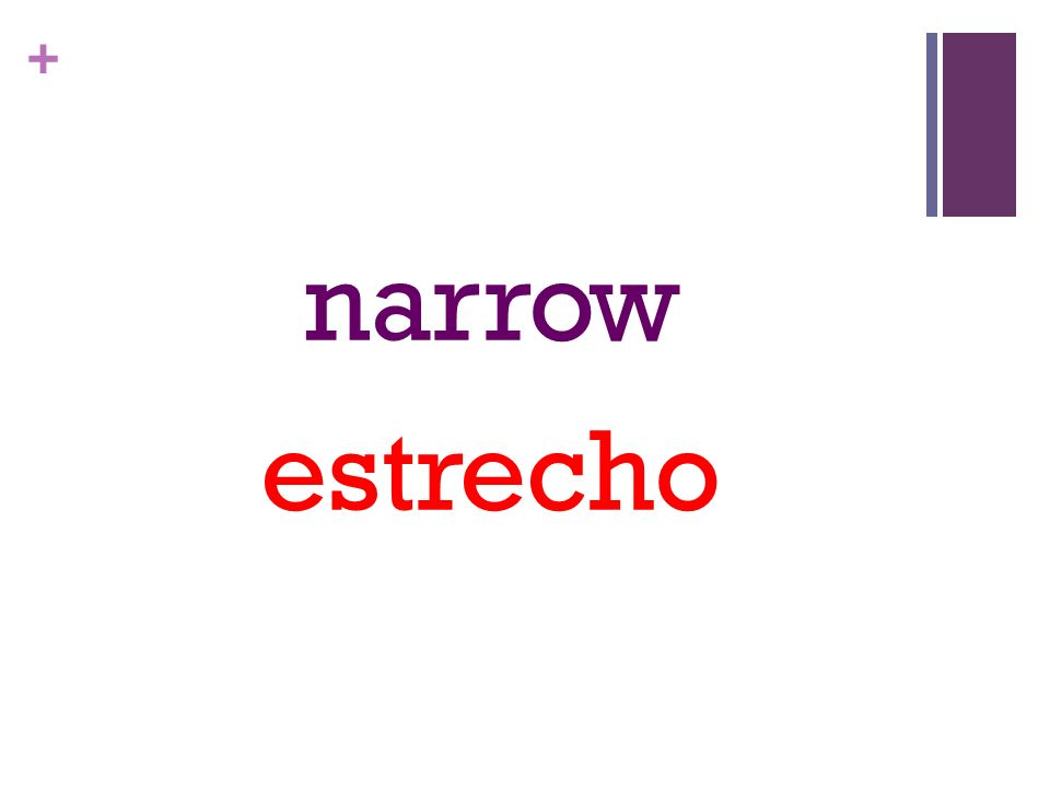 + narrow estrecho