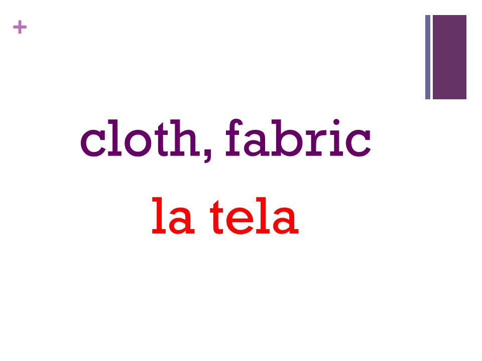 + cloth, fabric la tela