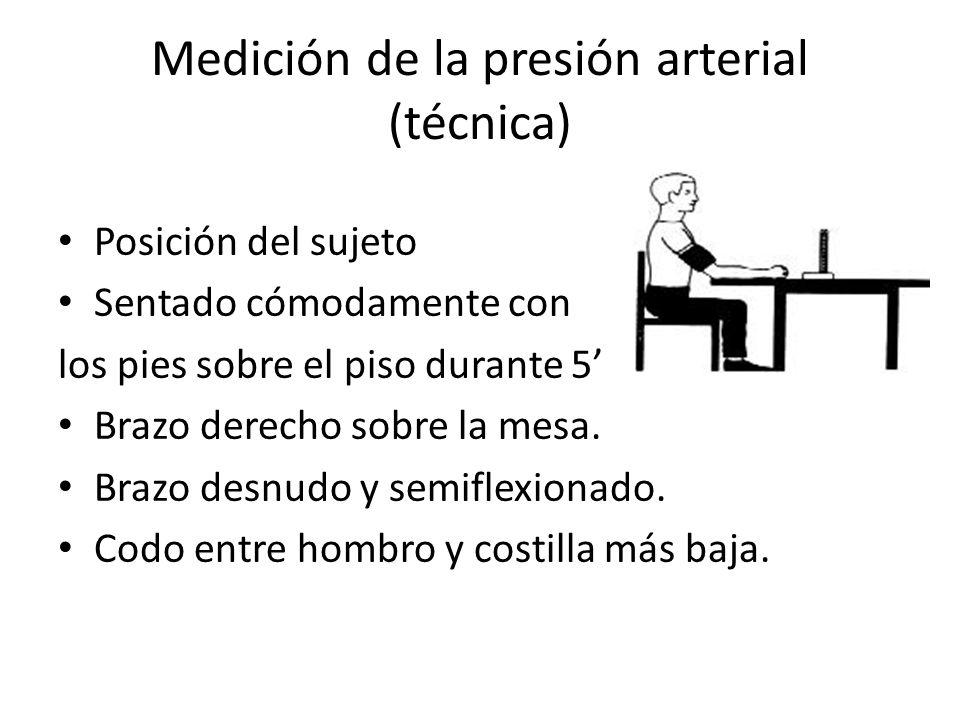 Medición de la presión arterial (técnica) Posición del sujeto Sentado cómodamente con los pies sobre el piso durante 5 Brazo derecho sobre la mesa.