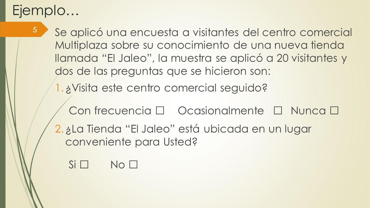 Ejemplo… 5 Se aplicó una encuesta a visitantes del centro comercial Multiplaza sobre su conocimiento de una nueva tienda llamada El Jaleo, la muestra