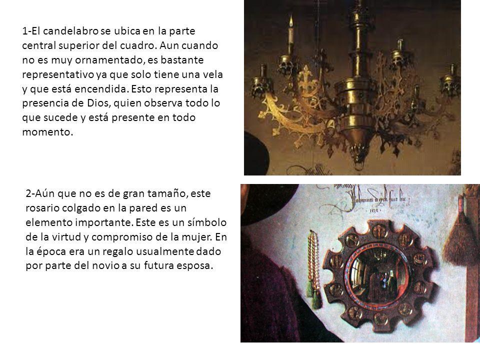 1-El candelabro se ubica en la parte central superior del cuadro.