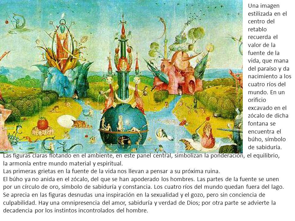 Las figuras claras flotando en el ambiente, en este panel central, simbolizan la ponderación, el equilibrio, la armonía entre mundo material y espiritual.