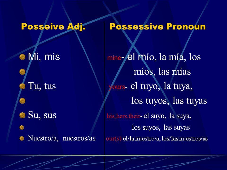 Possessive Pronouns A possessive pronoun replaces a noun that is modified by a possessive adjective.