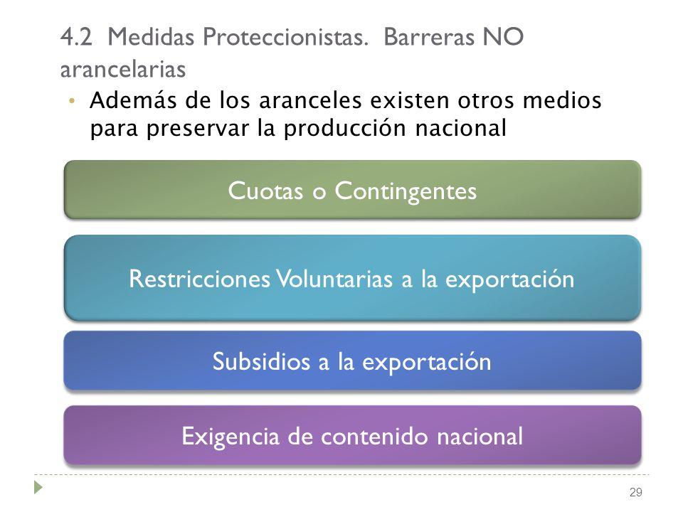 29 Además de los aranceles existen otros medios para preservar la producción nacional 4.2 Medidas Proteccionistas. Barreras NO arancelarias Cuotas o C