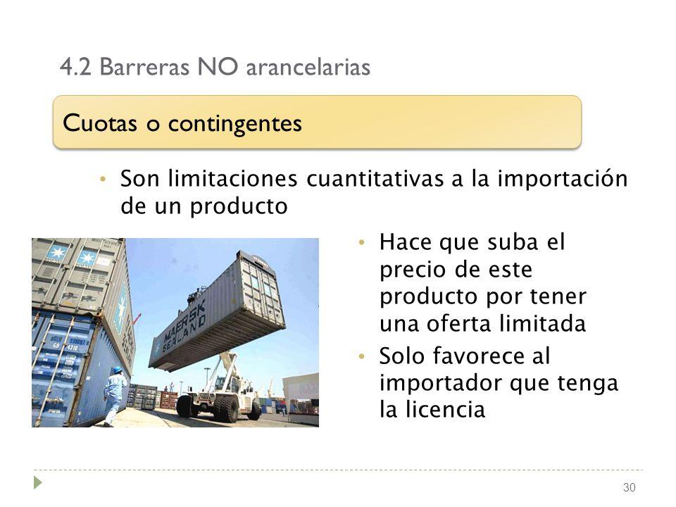 4.2 Barreras NO arancelarias 30 Son limitaciones cuantitativas a la importación de un producto Cuotas o contingentes Hace que suba el precio de este p