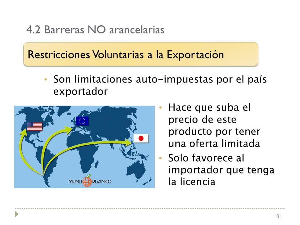 4.2 Barreras NO arancelarias 31 Son limitaciones auto-impuestas por el país exportador Restricciones Voluntarias a la Exportación Hace que suba el pre