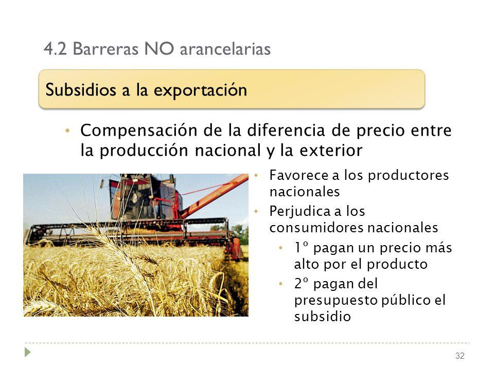 4.2 Barreras NO arancelarias 32 Compensación de la diferencia de precio entre la producción nacional y la exterior Subsidios a la exportación Favorece
