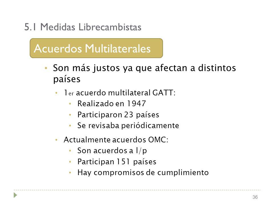 5.1 Medidas Librecambistas 36 Acuerdos Multilaterales Son más justos ya que afectan a distintos países 1 er acuerdo multilateral GATT: Realizado en 19
