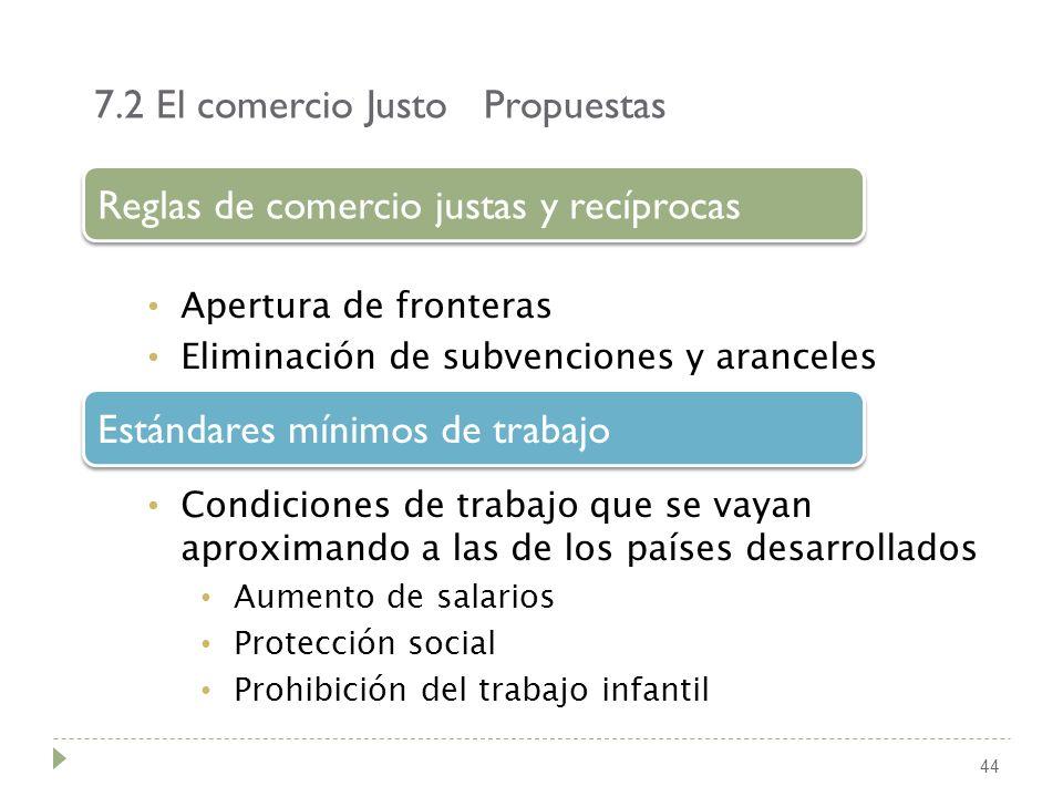 7.2 El comercio Justo Propuestas 44 Apertura de fronteras Eliminación de subvenciones y aranceles Reglas de comercio justas y recíprocas Condiciones d