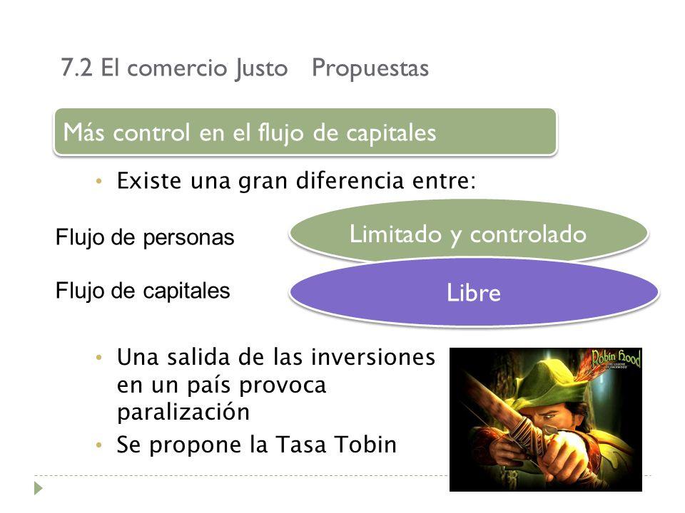7.2 El comercio Justo Propuestas Existe una gran diferencia entre: Más control en el flujo de capitales Flujo de personas Flujo de capitales Limitado