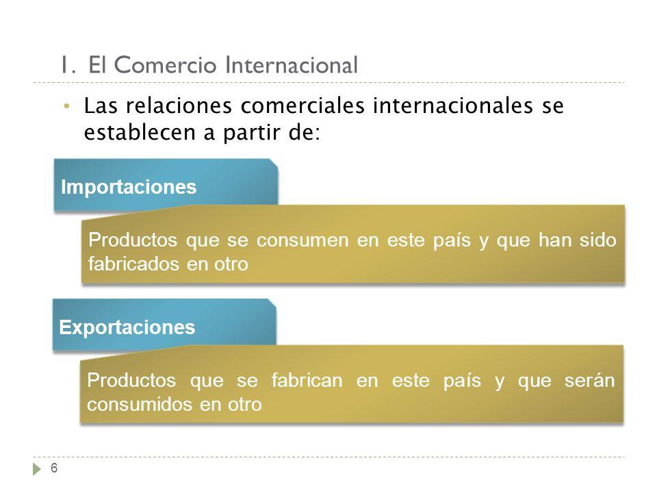 1. El Comercio Internacional 6 Las relaciones comerciales internacionales se establecen a partir de: Importaciones Productos que se consumen en este p