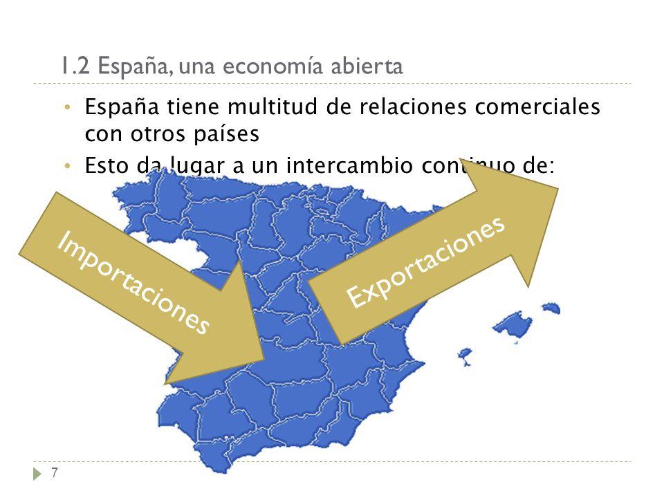 1.2 España, una economía abierta 7 España tiene multitud de relaciones comerciales con otros países Esto da lugar a un intercambio continuo de: Export