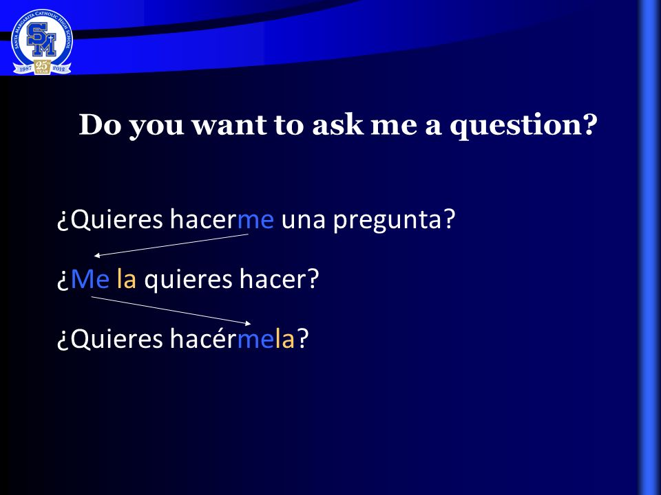Do you want to ask me a question. ¿Quieres hacerme una pregunta.