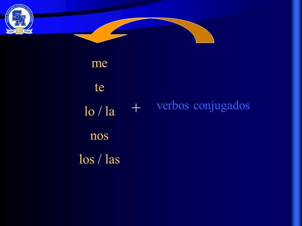 me te lo / la nos los / las + verbos conjugados