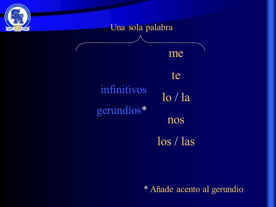 me te lo / la nos los / las infinitivos gerundios* Una sola palabra * Añade acento al gerundio.
