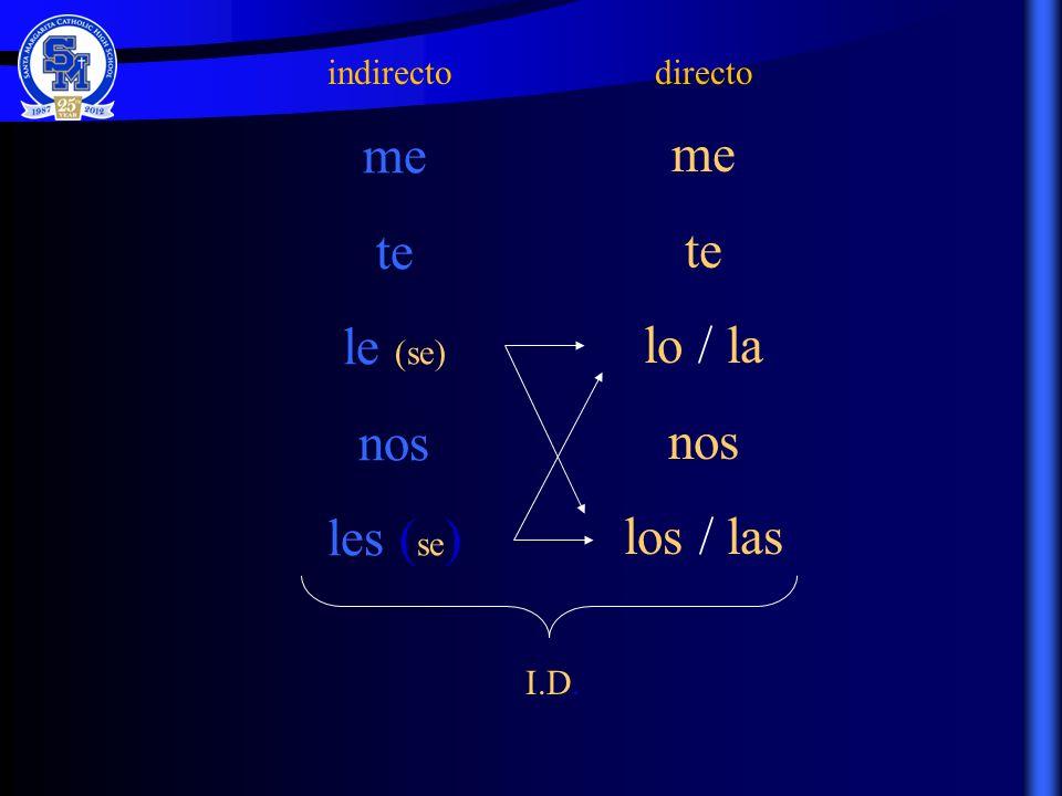indirecto me te le (se) nos les ( se ) directo me te lo / la nos los / las I.D.