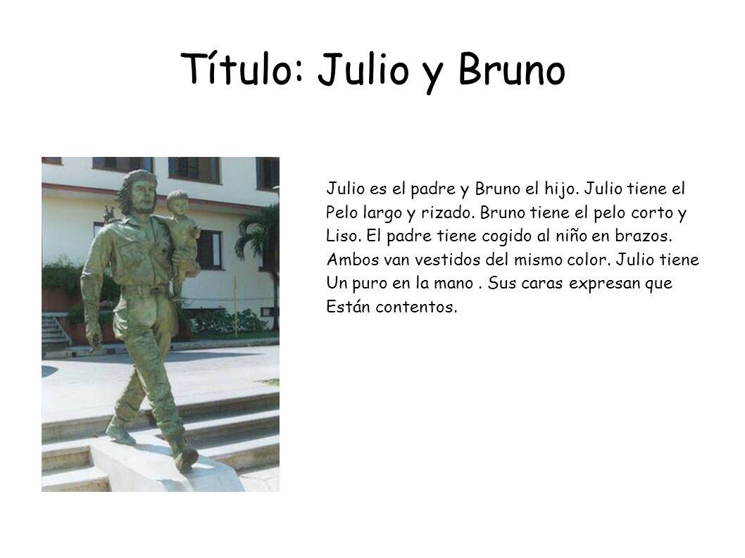 Título: Julio y Bruno Julio es el padre y Bruno el hijo. Julio tiene el Pelo largo y rizado. Bruno tiene el pelo corto y Liso. El padre tiene cogido a