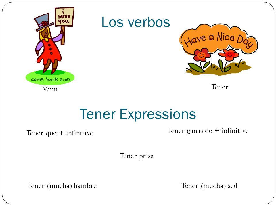 Los verbos Venir Tener Tener que + infinitive Tener ganas de + infinitive Tener Expressions Tener (mucha) hambreTener (mucha) sed Tener prisa