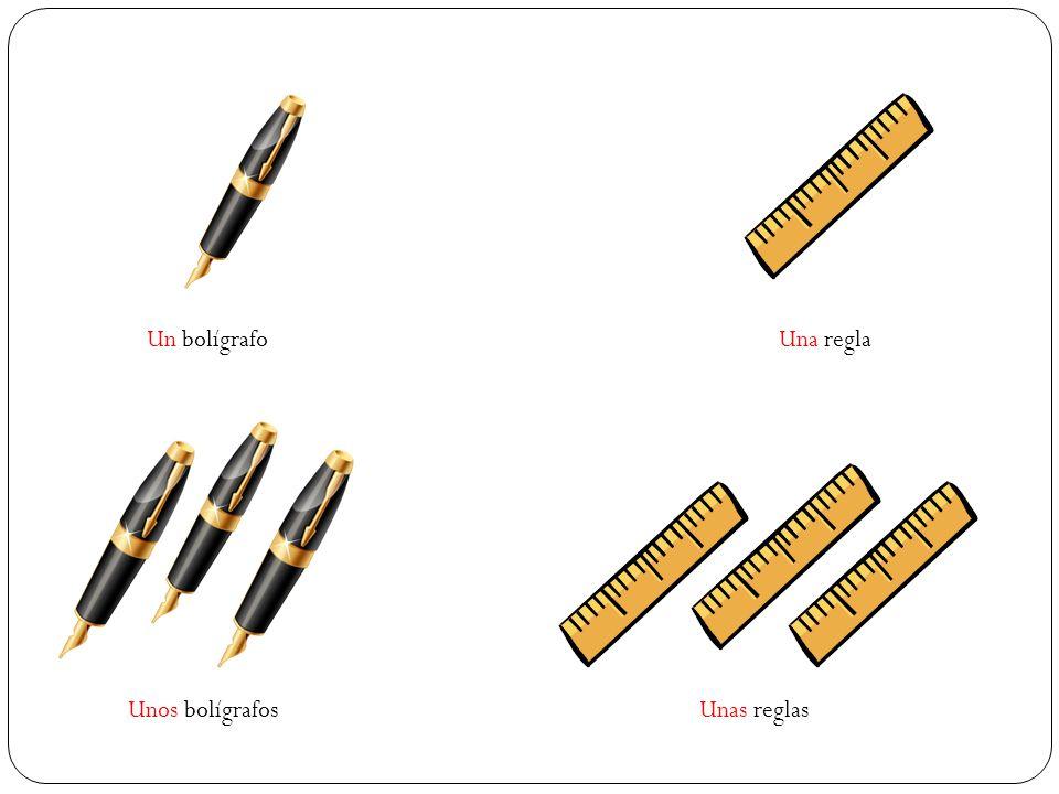 Un bolígrafo Unos bolígrafos Una regla Unas reglas