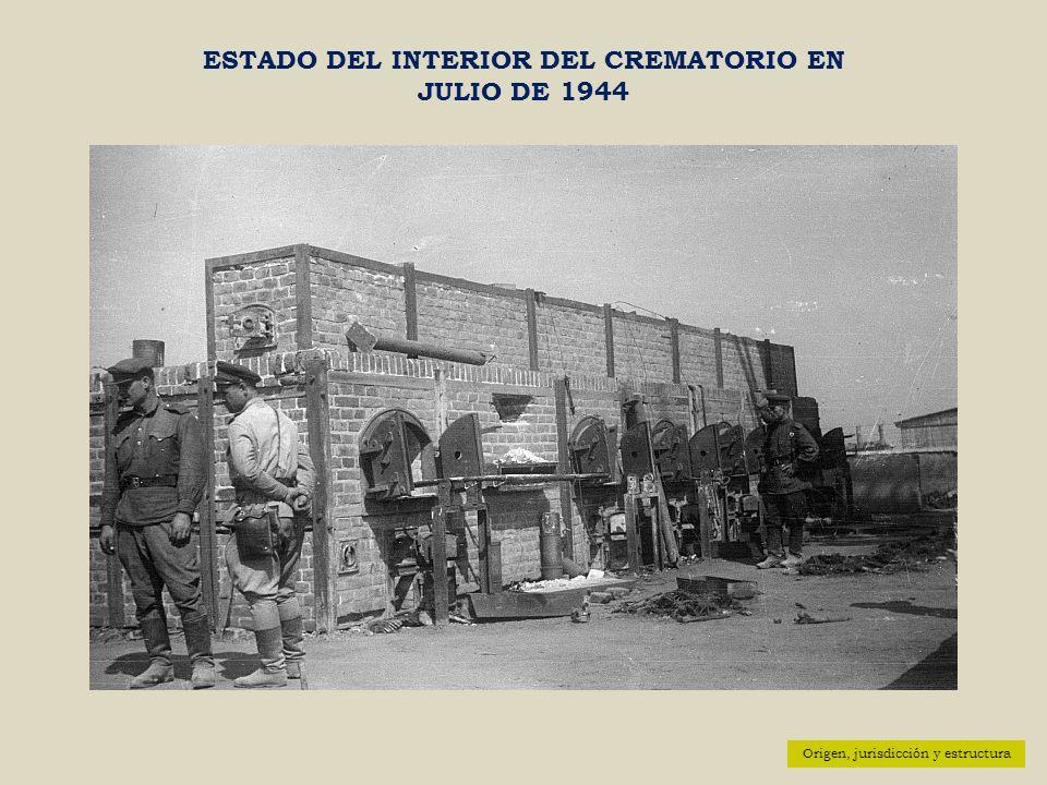 Origen, jurisdicción y estructura ESTADO DEL INTERIOR DEL CREMATORIO EN JULIO DE 1944