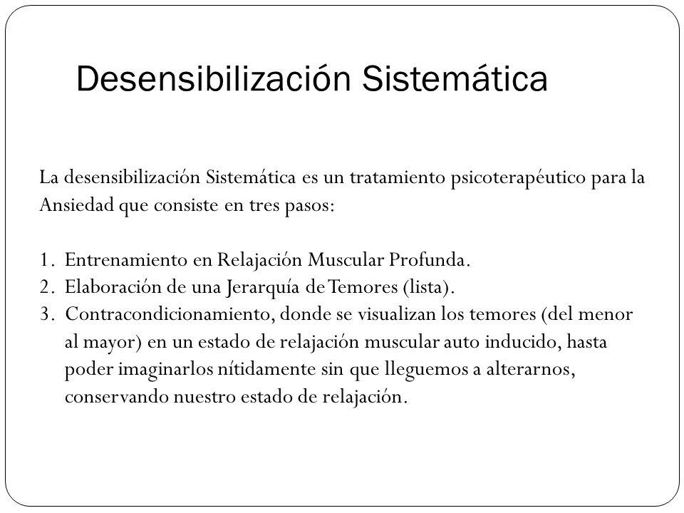 Desensibilización Sistemática La desensibilización Sistemática es un tratamiento psicoterapéutico para la Ansiedad que consiste en tres pasos: 1.Entre