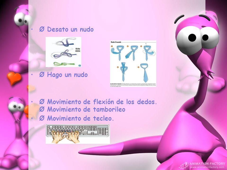 Ø Desato un nudo Ø Hago un nudo Ø Movimiento de flexión de los dedos. Ø Movimiento de tamborileo Ø Movimiento de tecleo.