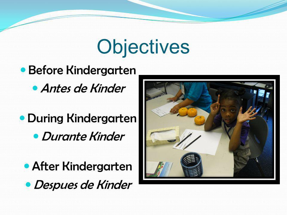 Objectives Before Kindergarten Antes de Kinder During Kindergarten Durante Kinder After Kindergarten Despues de Kinder