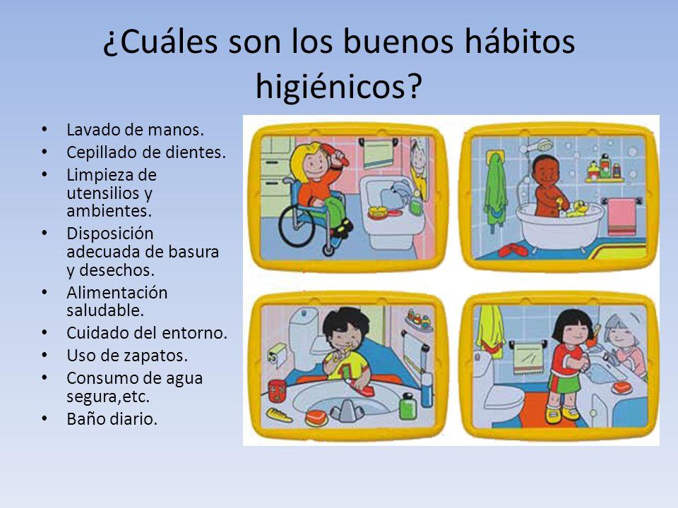 ¿Cuáles son los buenos hábitos higiénicos? Lavado de manos. Cepillado de dientes. Limpieza de utensilios y ambientes. Disposición adecuada de basura y