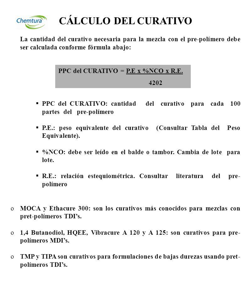 TABELA DE PESO EQUIVALENTE DE CURATIVOS: CURATIVOPESO EQUIVALENTE 1,4 Butanodiol 45 Caytur 21217 Caytur 31230 DEG (diethylene glycol) 53 Ethacure 100 89,2 Ethacure 300107 HQEE 99 Lonzacure (MCDEA)188,6 MOCA133,5 TIPA 63,7 TMP 44,7 Pluracol TP440142 Vibracure A 120500±25 Vibracure A 125500±25 Vibracure A 931 87,6