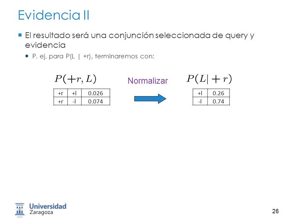 27 Eliminación de Variables General Query: Empezar con factores iniciales: Tablas de Prob.