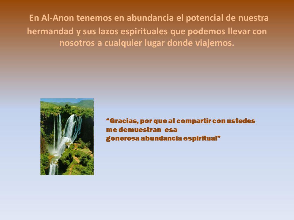 En Al-Anon tenemos en abundancia el potencial de nuestra hermandad y sus lazos espirituales que podemos llevar con nosotros a cualquier lugar donde vi