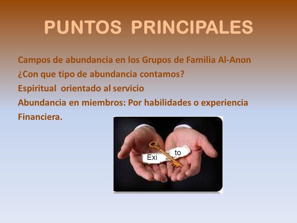 PUNTOS PRINCIPALES Campos de abundancia en los Grupos de Familia Al-Anon ¿Con que tipo de abundancia contamos? Espiritual orientado al servicio Abunda