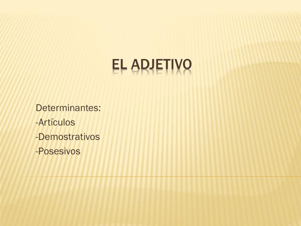 Determinantes: -Artículos -Demostrativos -Posesivos
