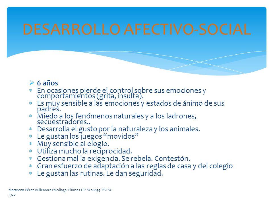 DESARROLLO AFECTIVO-SOCIAL 6 años En ocasiones pierde el control sobre sus emociones y comportamientos (grita, insulta). Es muy sensible a las emocion