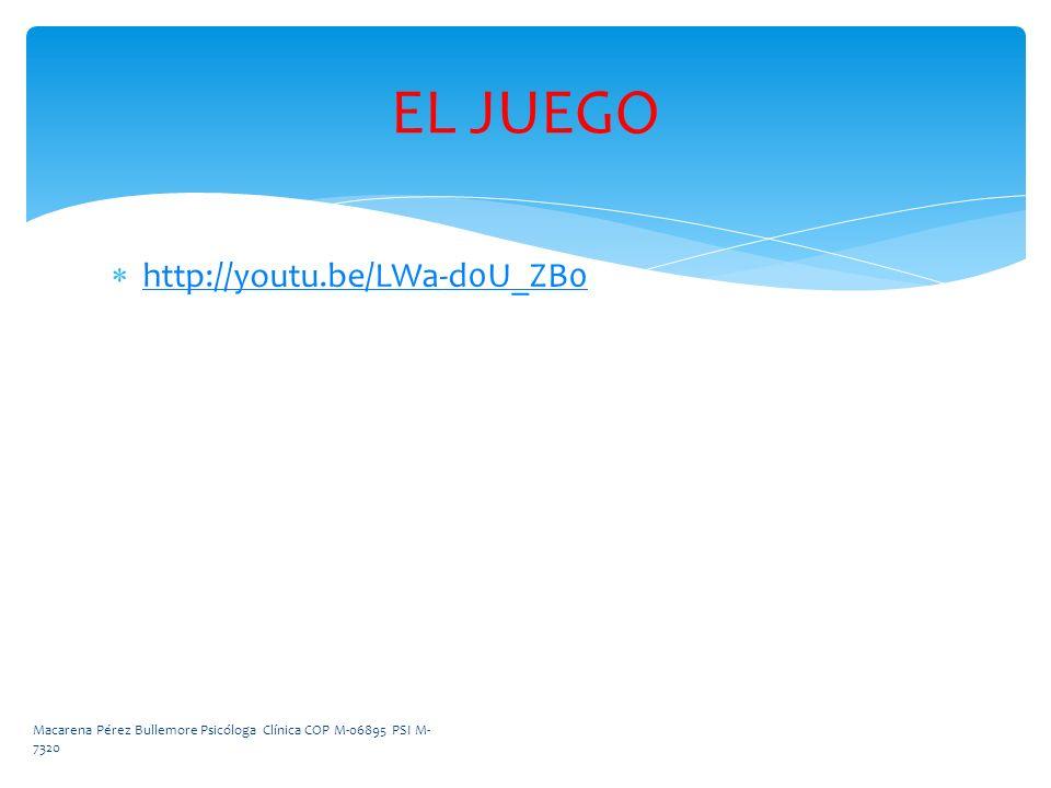 http://youtu.be/LWa-d0U_ZB0 EL JUEGO Macarena Pérez Bullemore Psicóloga Clínica COP M-06895 PSI M- 7320
