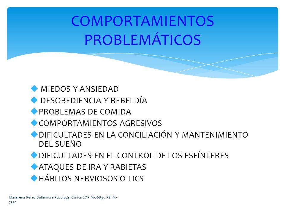 MIEDOS Y ANSIEDAD DESOBEDIENCIA Y REBELDÍA PROBLEMAS DE COMIDA COMPORTAMIENTOS AGRESIVOS DIFICULTADES EN LA CONCILIACIÓN Y MANTENIMIENTO DEL SUEÑO DIF