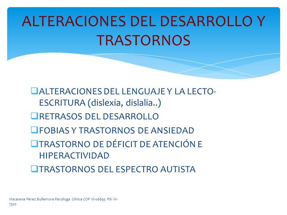ALTERACIONES DEL LENGUAJE Y LA LECTO- ESCRITURA (dislexia, dislalia..) RETRASOS DEL DESARROLLO FOBIAS Y TRASTORNOS DE ANSIEDAD TRASTORNO DE DÉFICIT DE
