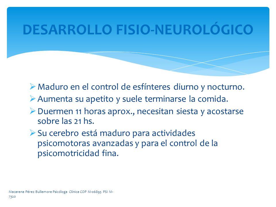 DESARROLLO FISIO-NEUROLÓGICO Maduro en el control de esfínteres diurno y nocturno. Aumenta su apetito y suele terminarse la comida. Duermen 11 horas a