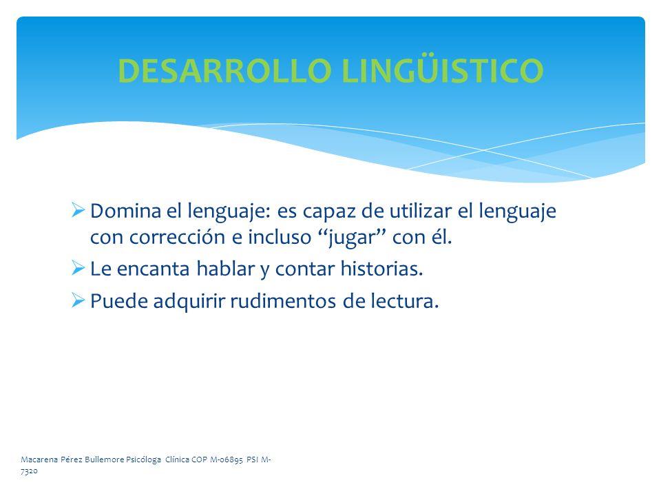 DESARROLLO LINGÜISTICO Domina el lenguaje: es capaz de utilizar el lenguaje con corrección e incluso jugar con él. Le encanta hablar y contar historia