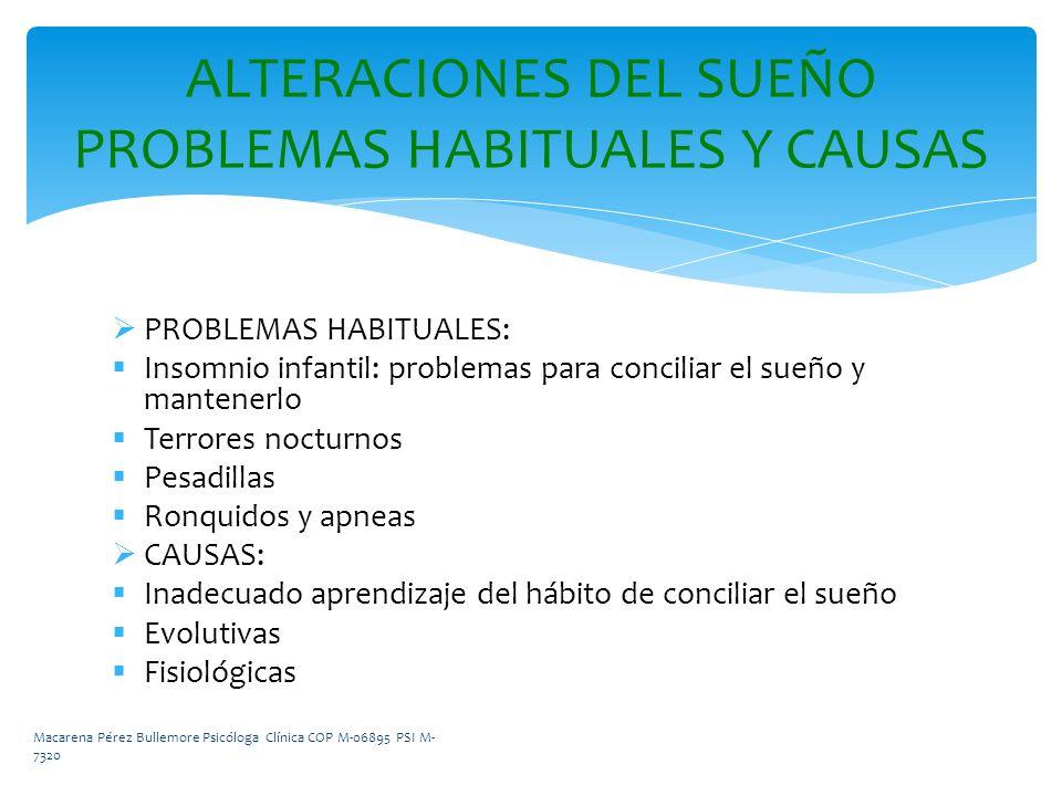 PROBLEMAS HABITUALES: Insomnio infantil: problemas para conciliar el sueño y mantenerlo Terrores nocturnos Pesadillas Ronquidos y apneas CAUSAS: Inade