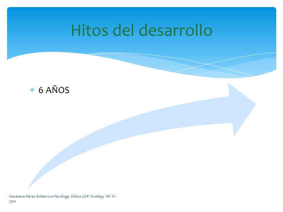 Hitos del desarrollo 6 AÑOS Macarena Pérez Bullemore Psicóloga Clínica COP M-06895 PSI M- 7320