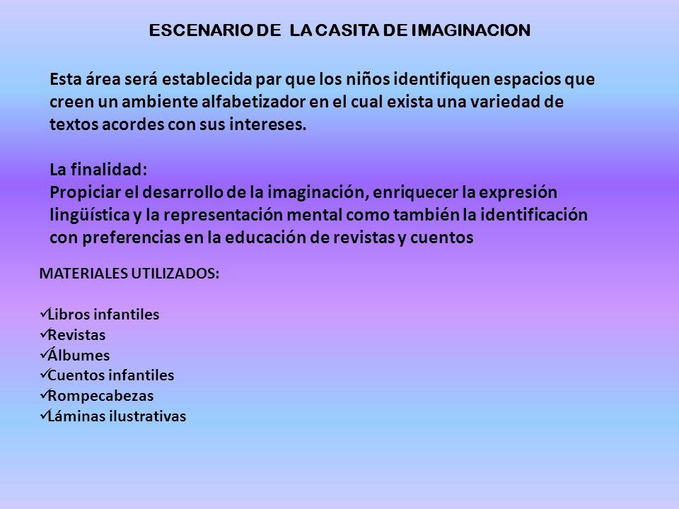 ESCENARIO DE LA CASITA DE IMAGINACION Esta área será establecida par que los niños identifiquen espacios que creen un ambiente alfabetizador en el cual exista una variedad de textos acordes con sus intereses.