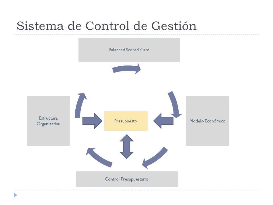Sistema de Control de Gestión Estructura Organizativa Modelo Económico Balanced Scored Card Presupuesto Control Presupuestario