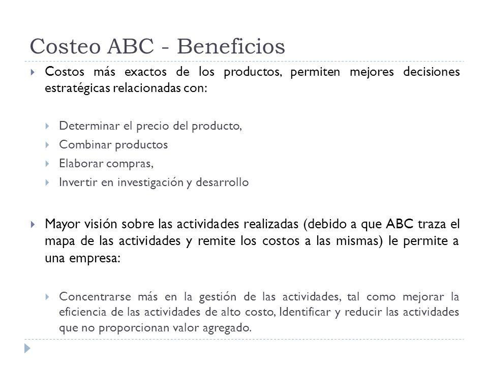 Costeo ABC - Beneficios Costos más exactos de los productos, permiten mejores decisiones estratégicas relacionadas con: Determinar el precio del produ